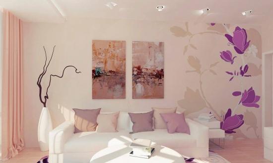 Perete cu tablou si stickere decorative
