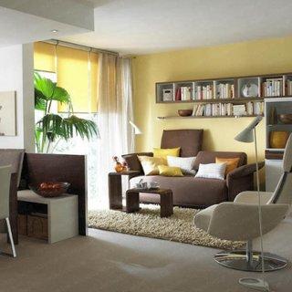 Rafturi cub si etajere asezate deasupra canapelei din living