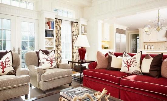 Canapea rosie in stil imperial cu fotolii clasice crem