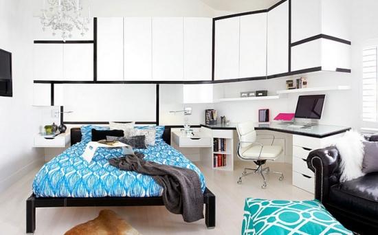 dormitor alb cu negru si accente turcoaz