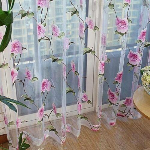 Perdea din vola transparent cu flori roz