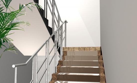 Scara interioara cu balustrada din inox