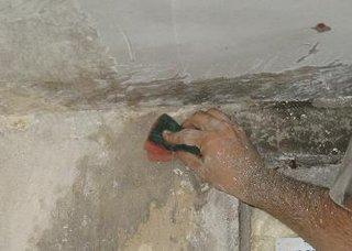 Spalarea peretilor cu solutie impotriva mucegaiului