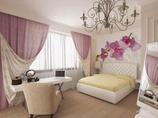 Dormitor in nuante pastel tapet cu orhidee