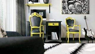 Alb negru si galben culori pentru decor camera tineret