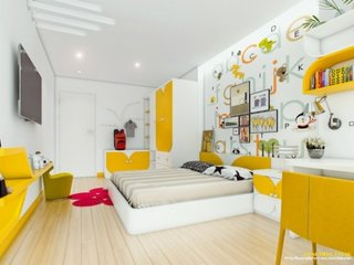 Alb si galben in amenajare dormitor copii