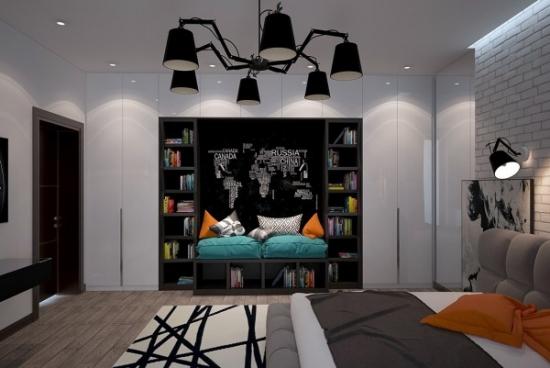 Camera pentru adolescenti cu personalitate cu perete cu vopsea efect tabla