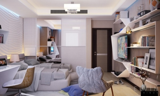 Dormitor adolescent cu birou si televizor