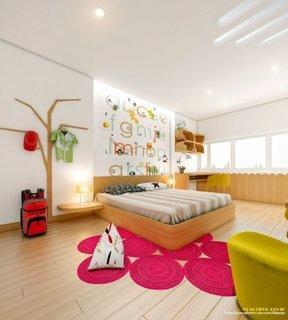 Mobilier din lemn natur si accente de roz si galben pentru dormitor de fete
