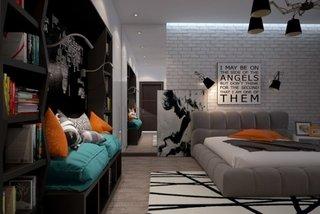 Perete de caramida vopsita in alb pe peretele cu patul