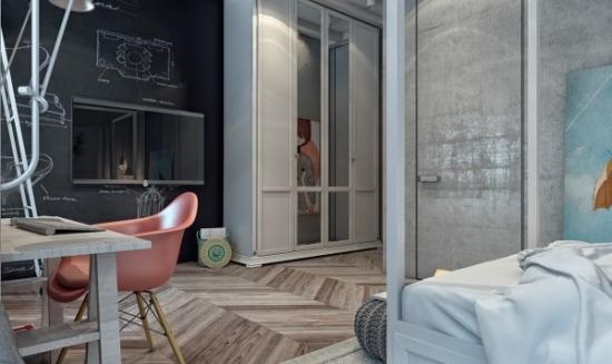 Stil industrial cu accente funky style pentru dormitor