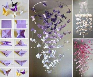 Candelabru cu fluturi din hartie pentru camera copii