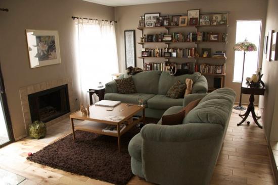 Semineu si biblioteca pe perete in living for Www design house com