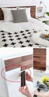 Tablie de pat placata cu bucati de lemn autoadezive