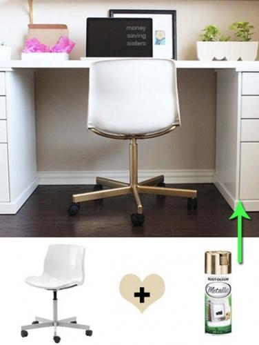 Vopsire picioare rotative scaun birou cu spray auriu