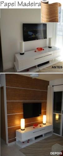 Decor perete cu televizorul cu autocolant