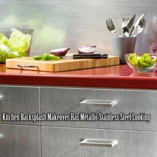 Mobilier bucatarie cu autocolant cu aspect de inox