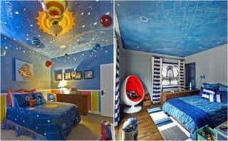 Camere baietei cu tavan cu soare, stele si nori