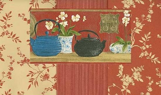 Tapet cu flori si ceainice