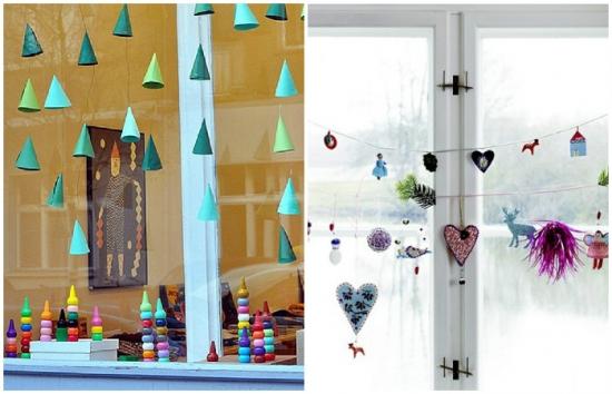 Decorare fereastra pentru Craciun cu ornamente facute de copii