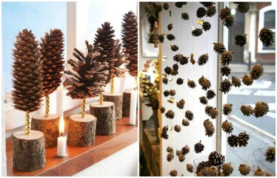 Decoratiuni din conuri de brad naturale