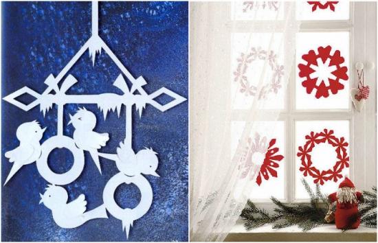 Fulgi de zapada din hartie pentru infrumusetare ferestre