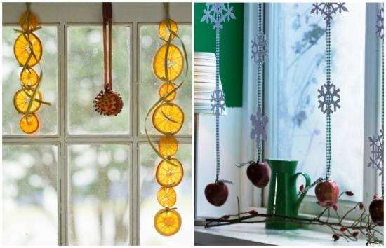 Ghirlande de fructe uscate pentru decor ferestre bucatarie