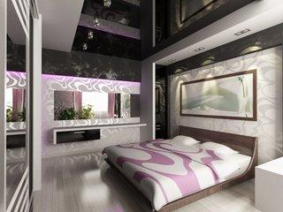 Dormitor amenajat cu tapet si tablou deasupra patului