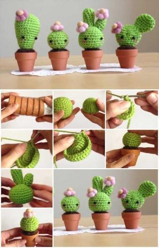 Decoratiuni crosetate in forma de cactusi