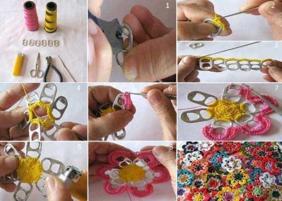 Decoratiuni din petale impletite si cheite de doze