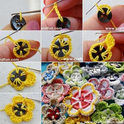 Flori crosetate pornind de la un nasture