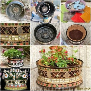 Janta veche de masina decorata cu bucati de mozaic si transformata in ghiveci pentru flori