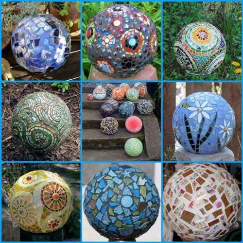 Mingii decorative pentru terasa sau gradina cu mozaic colorat