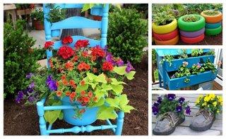 Decoratiuni gradina din obiecte reciclate ieftine