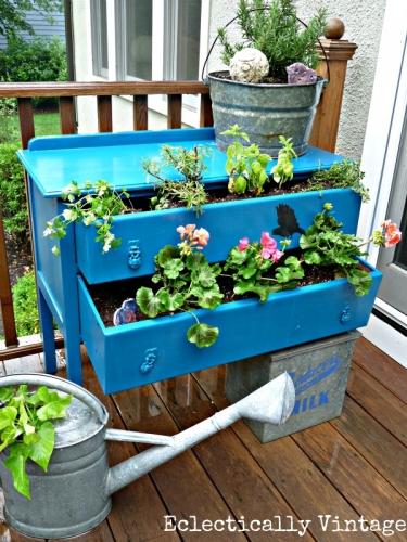 Dulap vechi vopsit albastru pentru depozitarea florilor