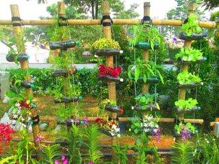 Sticle de plastic agatate cu flori in gradina