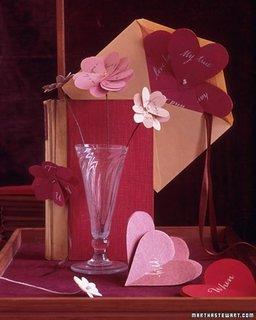 Idee de aranjarea a unei tavi romantice cu felicitare si vaza de flori pentru sfantul valentin