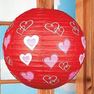 Lustra glob de hartie de orez rosie cu inimioare speciala pentru ziua indragostitilor