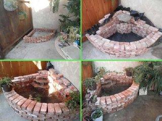 Constructie fantana arteziana de gradina pe colt din caramida
