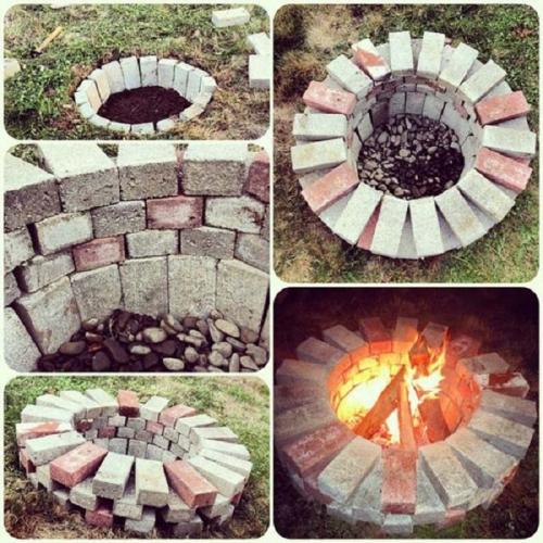 Foc de tabara din caramizi