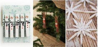 Decoratiuni creative din carlige de rufe tema iarna