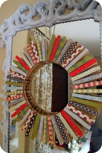 Oglinda de perete din clesti din lemn