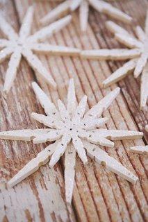 Stelute decorative din lemn cu sclipici