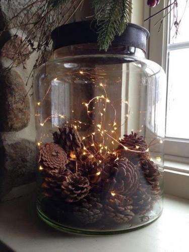 Borcan cu lumini ornament cu lumini pentru sarbatori
