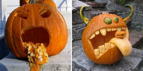 Decoratiuni pentru Halloween cu Dovleci - 37 de Imagini cu Idei Infricosatoare