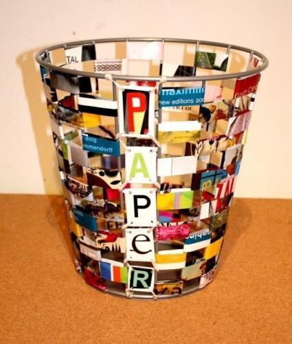 Cos de gunoi din impletitura de reviste