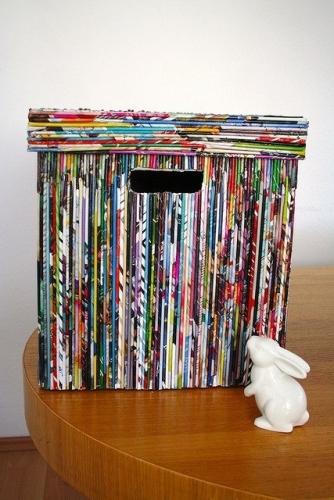 Cutie de depozitare realizata din reviste vechi