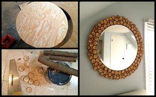Confectionarea unei oglinzi decorata cu busteni de copac