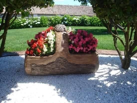 Cosulet din lemn plantat cu flori