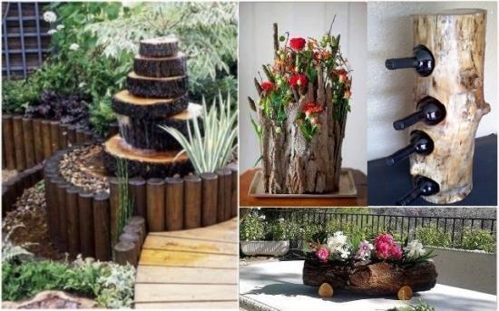 Decoratiuni rustice din trunchiuri de copac pentru casa si gradina